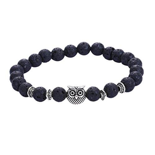 Price comparison product image JSPOYOU Promotions Women Owl Volcanic Stone Silver Bracelet Silver Bracelet Lava Stone Bead Bracelets (Black)