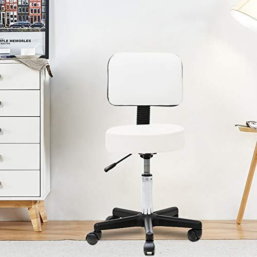 SSLine Rolling Drafting Chair Adjustable Swivel Massage Salon Spa Stool with Wheels and Back Hydraulic Office Dental Bar Chairs White