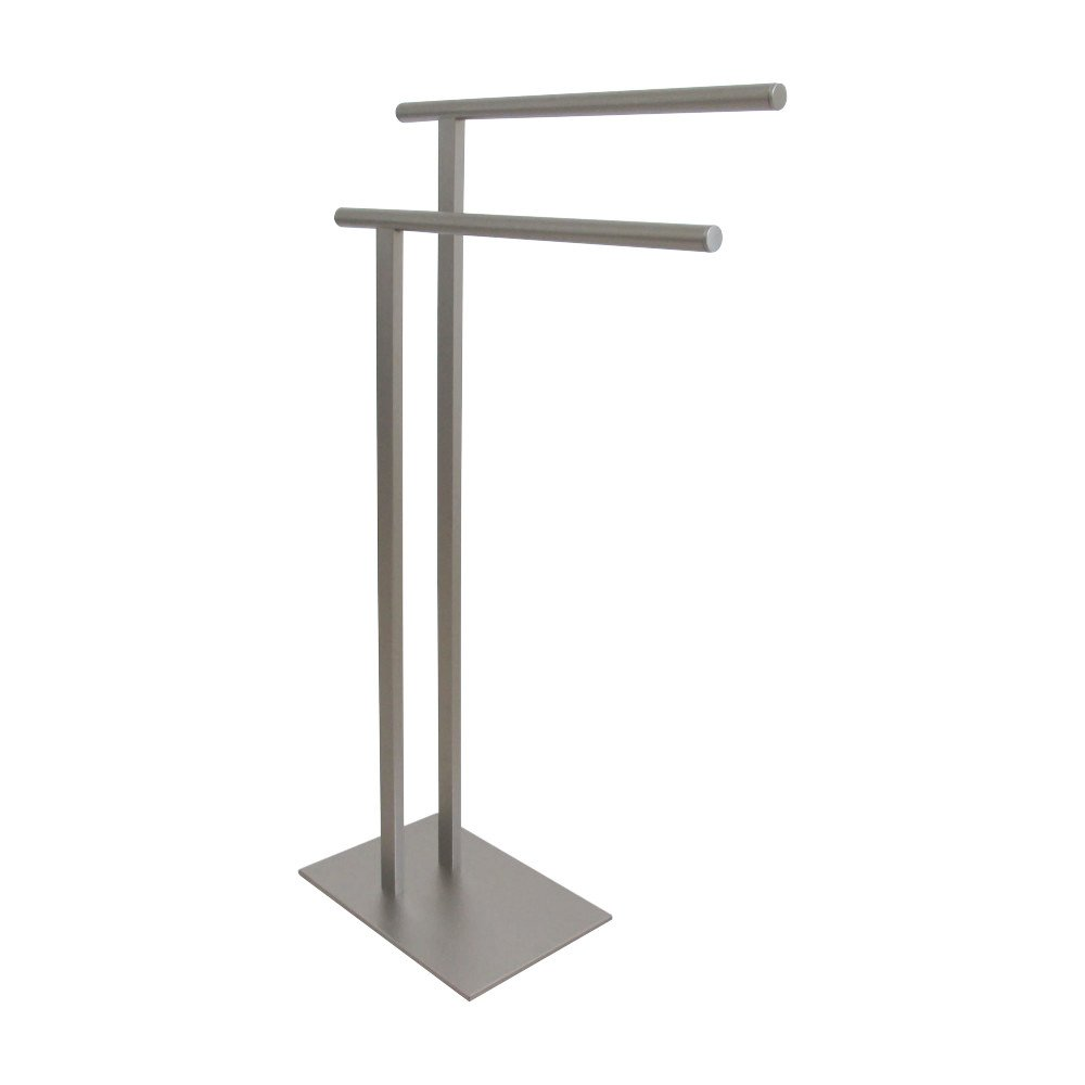 Kingston Brass SCC6038 Edenscape Double L Shape Pedestal Towel Holder, Brushed Nickel