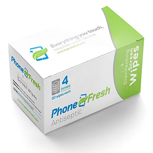 PhoneFresh Disinfecting Screen Wipes - Pre-moistened Lens and Glass Cleaning Wipes for Glasses, Camera, Phones, Smartphones, Tablet - Quick Drying, Streak Free, Disposable - 4 Pack of 20 Wipe Boxes