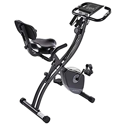MaxKare Exercise Bike Stationary Indoor Workout Cycling Bike with Arm Resistance Bands,Magnetic Folding Recumbent Bike for Home,w/Pulse Sensor&LCD Monitor Easy to Assemble by MaxKare