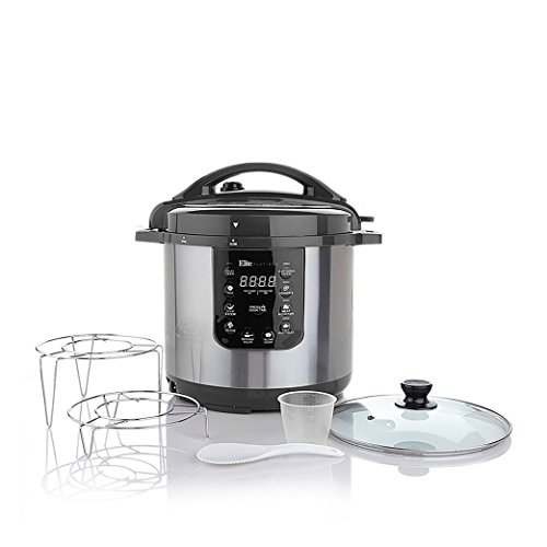 Elite Platinum EPC-813 Maxi-Matic 8Qt Electric Pressure Cooker with Glass Lid and 2 Racks, Black (Stainless Steel)