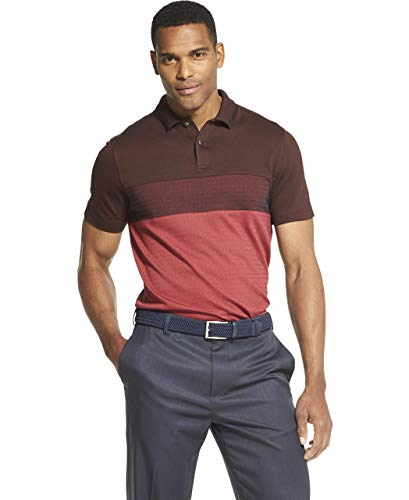 (Van Heusen Men's Flex Short Sleeve Stretch Colorblock Polo Shirt, Red Rusted Root, Large)