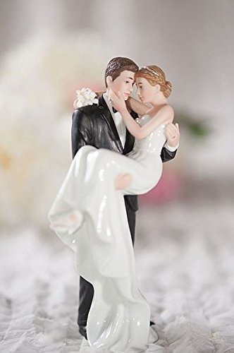 Wedding Collectibles Personalized Groom Holding Bride Traditional Cake Topper Figurine: Bride Hair: BLOND - Groom Hair: (Porcelain Wedding Cake Top)