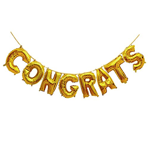 Treasures Gifted Golden Congrats Balloons Letters in 16 Inch Gold Mylar Foil Ideal Decorations for Congratulating Graduate Wedding Engagement Bachelorette Party Celebrations ()