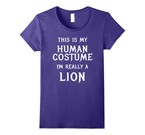 Womens I'm Really a Lion Halloween Costume Shirt Easy Funny Large Purple