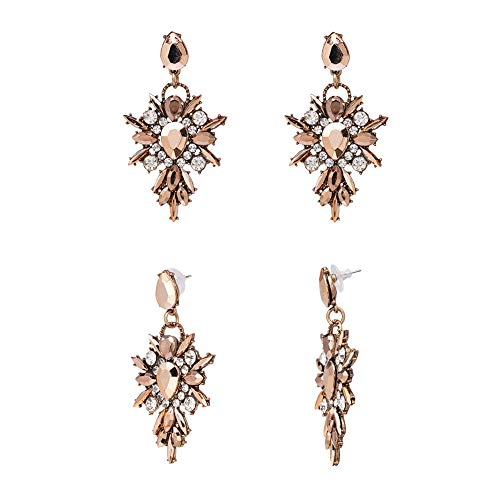 Elleda Jewelry Vintage Boho Crystal Baroque Bohemian Large Long Drop Statement Earrings for Women Girls (Amber)