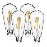 Vintage LED Edison Bulbs 60 Watt Equivalent 6W Dimmable LED Filament Light Bulb 600 Lumen Soft White 2700K ST64 Antique E26 Medium Base for Decorate Bedroom Office 4-Pack by Seaside village
