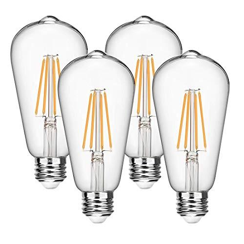 - Vintage LED Edison Bulbs 60 Watt Equivalent 6W Dimmable LED Filament Light Bulb 600 Lumen Soft White 2700K ST64 Antique E26 Medium Base for Decorate Bedroom Office 4-Pack by Seaside Village