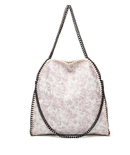 De Las Mujeres Pu Casual Chain Totalizador Bolsa De Hombro SYSI Design correa de cadena de cuero de imitación bolso hombro para mujer (Bolsa De Hombro Gris) Rosa blanco