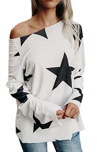 Automne Lâche Imprimé Manches Sweat Femmes Chemisier Chemise Élégant Étoiles Bretelles Longues Blouses Pont Scothen Blanc Pull À Chemises Sans wO8qIq