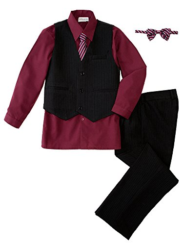 Spring Notion Big Boys' 5 Piece Pinstripe Vest Set 5 Burgundy by Spring Notion