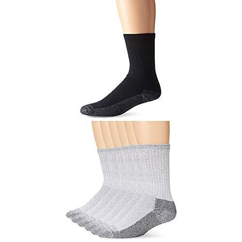 Fruit of the Loom Men's Heavy Duty Reinforced Cushion Full Crew Socks, Black/Gray, Shoe Size: 6-12