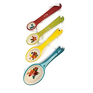 The Pioneer Woman Oval Shaped Stoneware Measuring Spoons in NEW Wildflower Whimsy Design