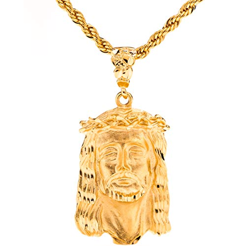 Lifetime Jewelry Jesus of Nazareth [ Face of Christ Pendant ] 20X More 24k Real Gold Plating Than Other Fashion Necklaces (Face of Christ with 20