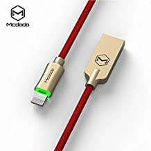 Lightning iPhone Cable, MCDODO 6ft Smart Led Auto Disconnect Nylon Braided Lightning to USB Sync & Charger Charging Cable for iPhone X, 8, 8 Plus, 7, 7 plus, 6s. 6 Plus, SE, 5s, 5, iPad, iPod Nano 7 and other Apple Lightning Devices