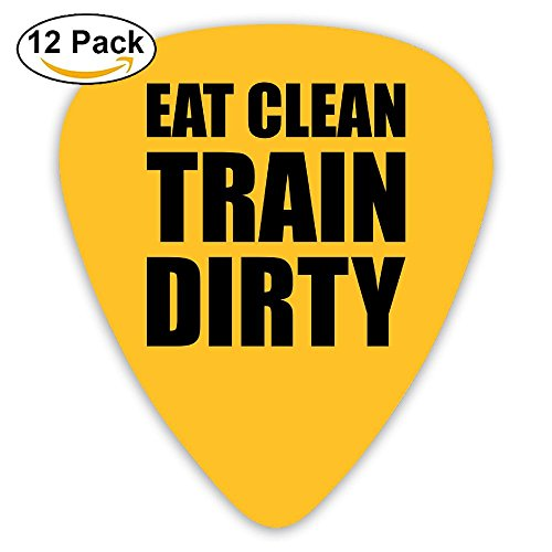 Celluloid Guitar Picks Best Gift For Guitarist Bass Guitar Plectrums,print Eat Clean Train Dirty,0.46mm/0.73mm/0.96mm,12 Pack (Dirty Gibson Fingers)