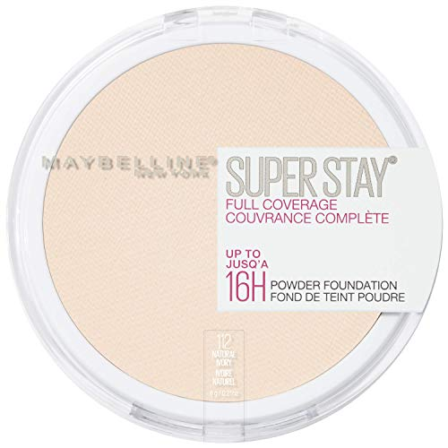 Maybelline New York Super Stay Full Coverage Powder Foundation Makeup Matte Finish, Natural Ivory, 0.18 Ounce