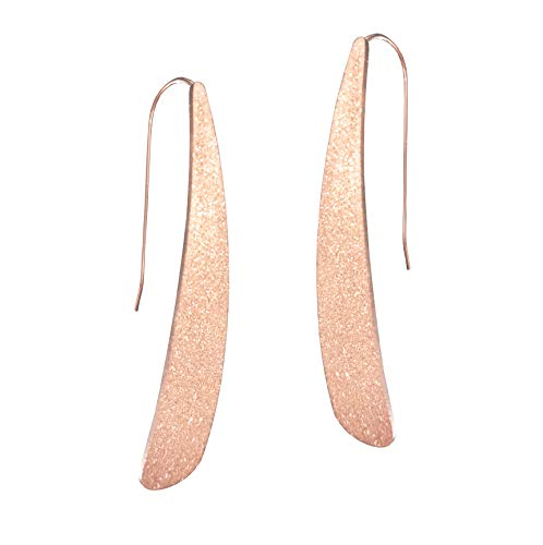 ardust Curved Flat Bar Dangles - Metallic Long Linear Tear-Drop Polished Threader Earrings (Rose Gold) ()