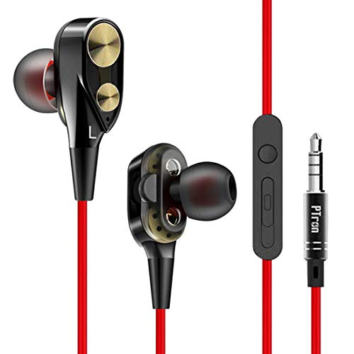 PTron Boom 2 Headphone 4D Deep Bass Stereo Earphone Dual Driver Sport Wired Headset with Mic for All Smartphones (Black/Red) 1