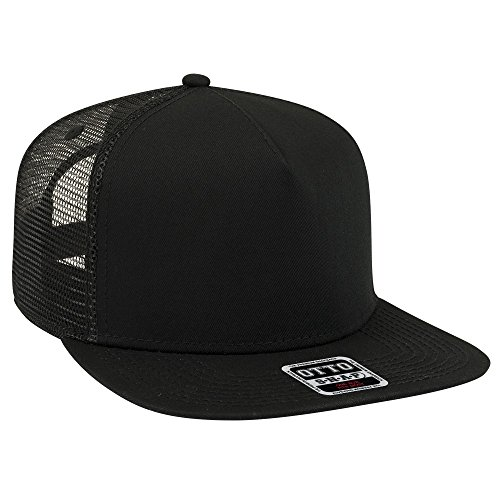 (OTTO Square Flat Visor SNAP 5 Panel Mesh Back Trucker Snapback Hat - Black)