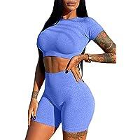 HYZ Women's Workout 2 Piece Outfits High Waist Running Shorts Seamless Gym Yoga Crop Top Sets