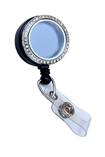 Rhinestone Lined Memory Locket ID Badge Reel/ ID Badge Holder (Silver (Stones))