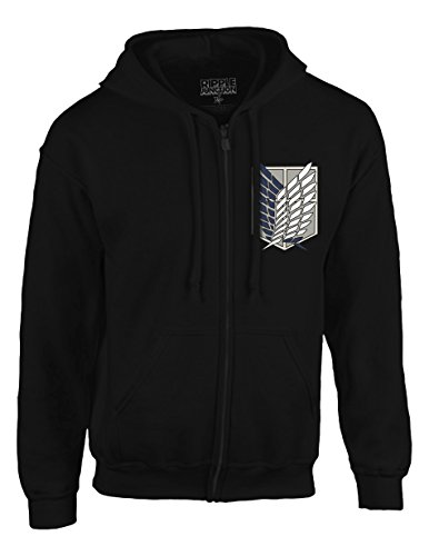Ripple Junction Attack on Titan Survey Corps Adult Zip Hoodie 3XL Black