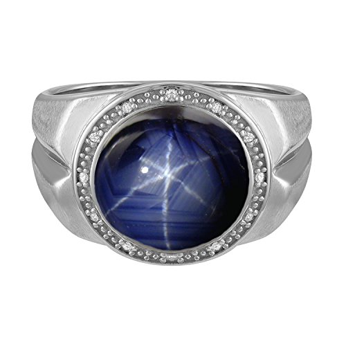 Sapphire Cabochon Ring (Men's 12x12 Round Cabochon Simulated Blue Star Sapphire Ring In Sterling Silver - Size 10)