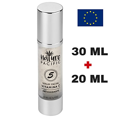 Serum Facial Hidratante, Anti-Edad para la cara, Antioxidante, Reduce las arrugas de la piel, Vitamina C, 50ml, No graso, Piel sana y joven.