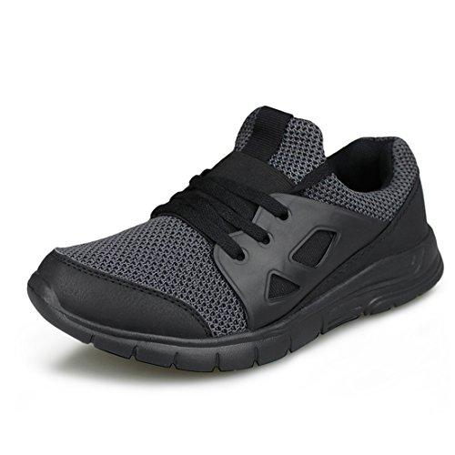 (Hawkwell Kids Slip-on Running Shoes Breathable Lightweight Walking Sneakers(Little Kid/Big Kid),Black Mesh,3 M US)