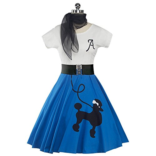 DressLily Retro Poodle Print High Waist Skater Vintage Rockabilly Swing Tee Cocktail Dress,Bright Blue,M (50s Poodle Dress)