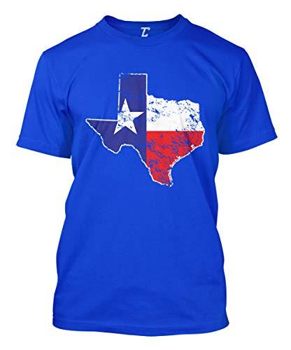 Texas State Flag Map - USA Men's T-Shirt (Royal, X-Large) ()