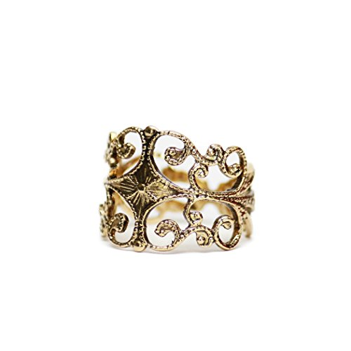 (Providence Vintage Jewelry Filigree Ring Antiqued 18k Gold Electroplated Edwardian Style)