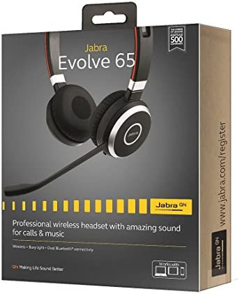Jabra Evolve 65 UC Stereo Wireless Bluetooth Headset / Music Headphones Includes Link 360 (U.S. Retail Packaging)