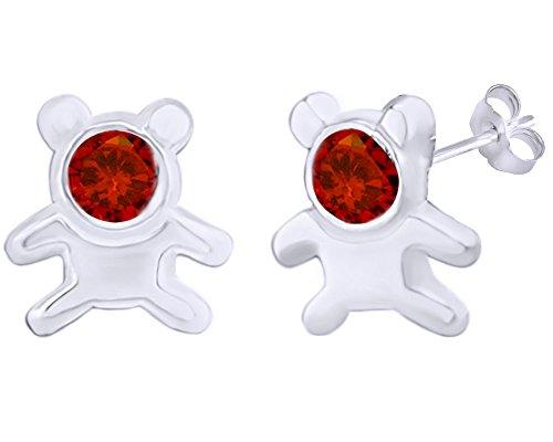 Ring Teddy Bear 14k (Cyber Monday Deals Simulated Garnet Cute Teddy Bear Stud Earrings 14K White Gold Over Sterling Silver)