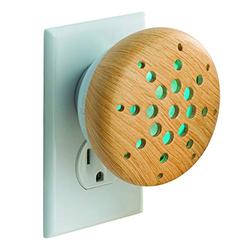 Airomé Bamboo Pluggable Essential Oil Diffuser, Ceramic Cover with 8 Color LED Night Light Wall Plug in, Light Wood Finish