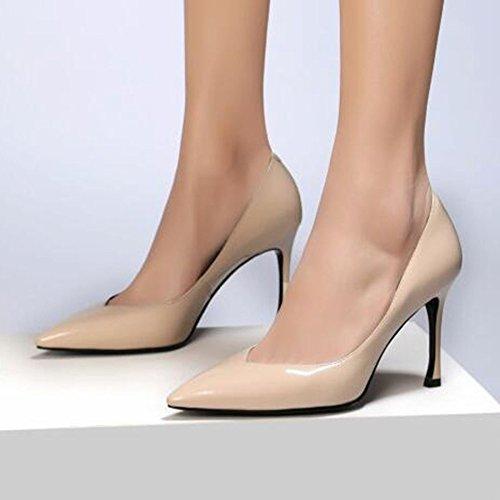 Femmes Stiletto Haut Talon A Souligné Les Chaussures De Travail Chaussures Clubbing Cuir Véritable Femmes en Cuir Verni Pompes Apricot zJDsL