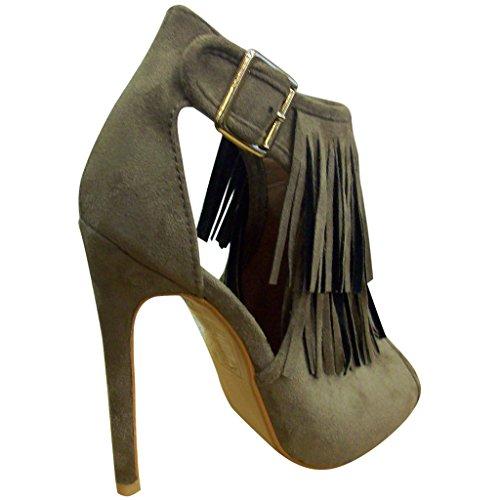 Bella Marie Womens Vanesa-28 Open Toe Suede Fringe Sandal Booties Taupe bROpFlreEI