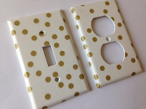 Metallic Gold White Polka Dots Light Switch Cover -Various Sizes Offered