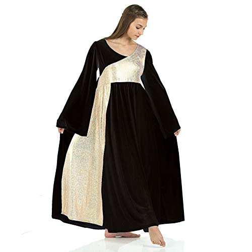 Danzcue Womens Shimmery Asymmetrical Bell Sleeve Dance Dress (Small, Black-Gold)