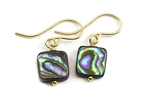 14k Gold Abalone Shell Earrings Mother of Pearl MOP Small Tiny Colorful Square Cut Drops ()