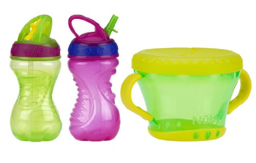 Nuby 10 Ounce Flip-And-Tip Hard Straw Cup 2 Pack with Snack Keeper