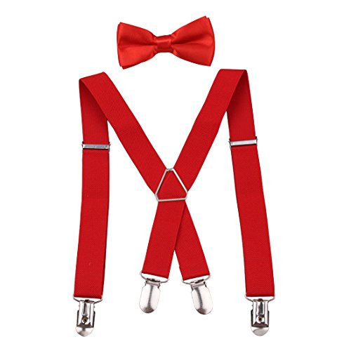 (GUCHOL Boys and Girls Bowtie Set X Suspenders Strengthen 4 Clips Adjustable for Kids (Red))