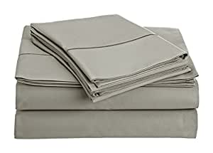Chateau Home Collection 800-Thread-Count Egyptian Cotton Deep Pocket Sateen Weave Queen Sheet Set, Silver