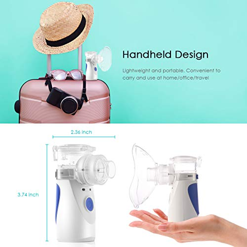 Portable Handheld Inhaler Mini Vaporizer Atomizer Steam Compressor Humidifier Cool Mist Inhaler Kits for Kids Adults Daily Home Travel Use, Two Power Supply Battery USB