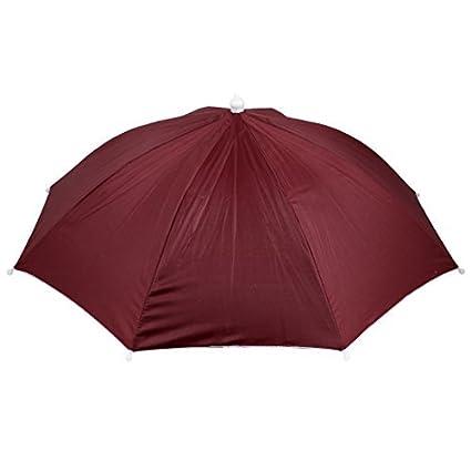 eDealMax Rojo plegables Manos libres Headwear del Sombrero de paraguas Para la Pesca Pesca