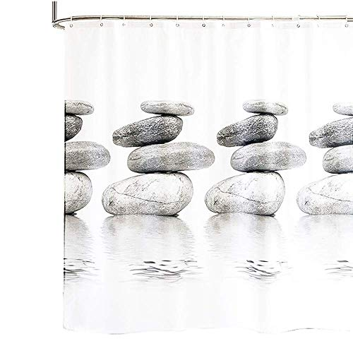Young Tag Shower Curtain - Polyester Fabric Gray Shower Curtain 72 x 80 Stone Pattern