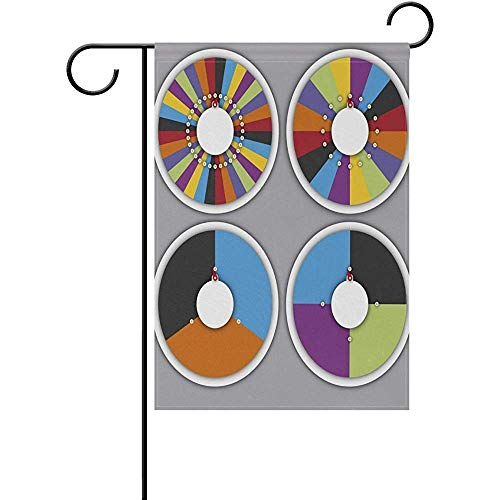 Set of Spinning Wheels Fortune Double Sided Polyester Garden Flags Flag Banner 12x18 Inches Welcome Yard Flag Holiday Outdoor Indoor -