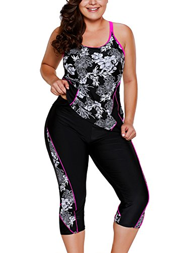 - ENLACHIC Women Floral Printed Racerback Tankini Swimsuits with Swim Capris,L